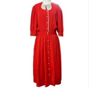 Vintage 80s Albert Nipon Red Dress with White Bow